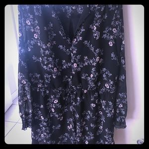 Black Floral Romper - Long Sleeve - Shorts XXL